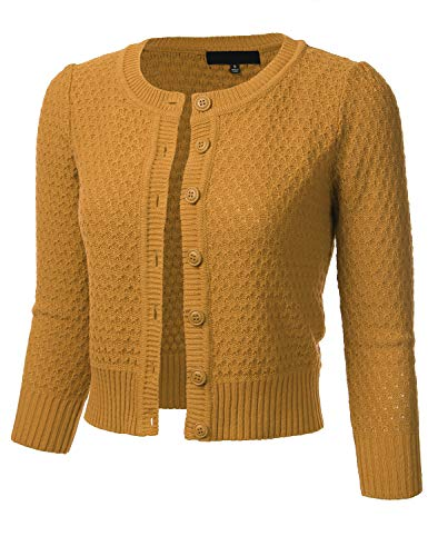 FLORIA Women's Button Down 3/4 Sleeve Crew Neck Cotton Knit Cropped Cardigan Sweater Bronze M