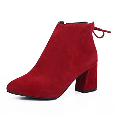 ca44b8241cef8 fereshte Ladies Women's Fashion Suede Pointed-Toe Mid Heels Casual Back  Lace Ankle Boots Red 39-5.5 UK: Amazon.co.uk: Shoes & Bags