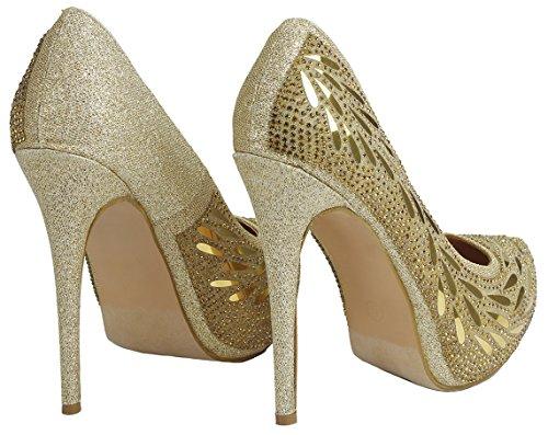 Bella Luna Myra Sparkle Cristal Gem Strass Maille Paillettes Formelles Robe De Soirée Pompes Gold_flower