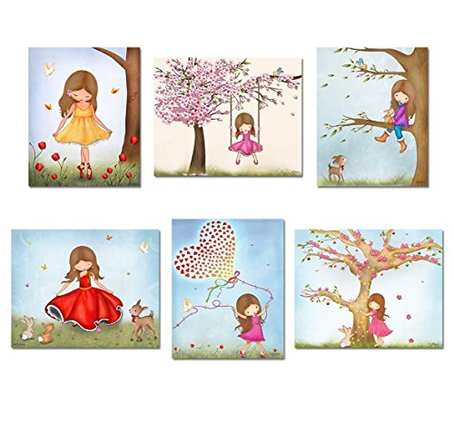 """Pictures for Girls Room Decorating Ideas Kids Bedroom Wall Art Customized Personalized Name Artwork Custom Hair and Skin Color 8""""x10""""/11""""x14"""" Print Size"""