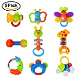 Teething Toys Set Baby Rattles Teecher&Shakers- 9pcs Hand Development Baby Nature Theme Toys Gift Set Early Educational Toys for 3, 6, 9, 12 Month Newborn Baby, Toddler(Some Item Color Pick Randomly)