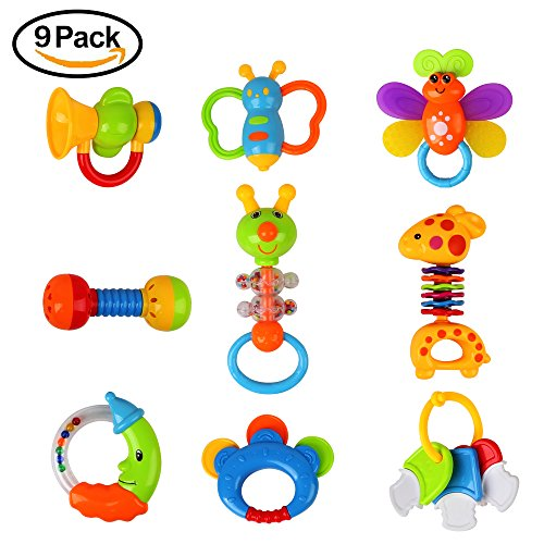 Teething Toys Set Baby Rattles Teecher&Shakers- 9pcs Hand Development Baby Nature Theme Toys Gift Set Early Educational Toys for 3, 6, 9, 12 Month Newborn Baby, Toddler(Some Item Color Pick Randomly) by Beebeerun