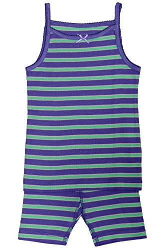 - Skylar Luna Girl's Short Sleeve Purple/Mint Stripe Tank Top Pajama Set - 100% Organic Cotton Shirt Shorts - Lavender/Mint- for 18-24 Months