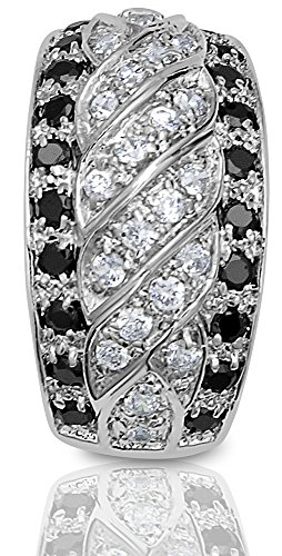 Women's Sterling Silver .925 Original Design Pendant Slider with Black and Clear Round Cubic Zirconia Stones. Platinum Plated