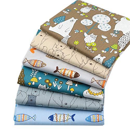 Zoo Animals Fat Quarters Fabric Bundles, Bear Fish Print Precut Sewing Quilting Animal Fabric,18