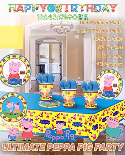Ultimate Peppa Pig Birthday Party Decoration Supplies Bundle Pack for 16 Guests Lg & Sm Plates 9oz Cups Matching Table Cover Jumbo Banner 50 Napkins (Bonus Matching Party Straw Pack)