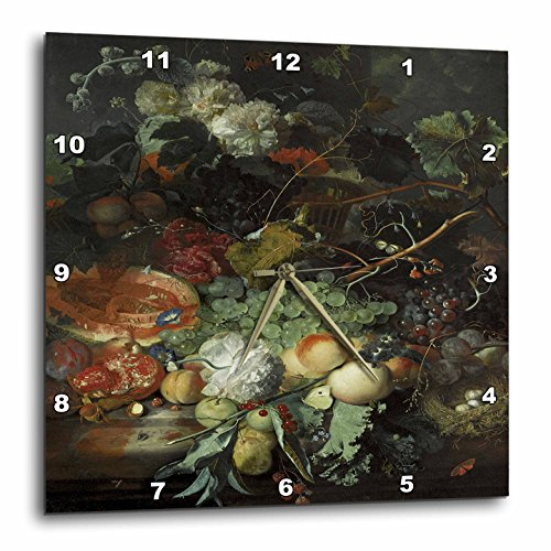 3dRose dpp_149700_3 Still Life of Fruit Upon a Marble Ledge, Birds Nest and a Basket of Flowers by Jan Van Huysum Wall Clock, 15 by 15-Inch