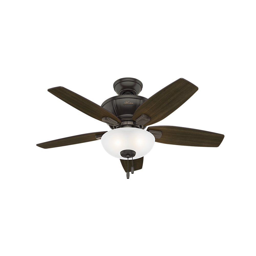 Hunter Indoor Ceiling Fan with LED Light and pull chain control – Kenbridge 42 inch, Nobel Bronze, 51101