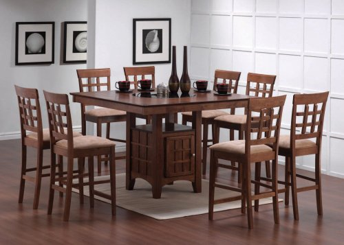 9pcs Walnut Counter Height Dining Table with Lazy Susan & 8 Stools Set