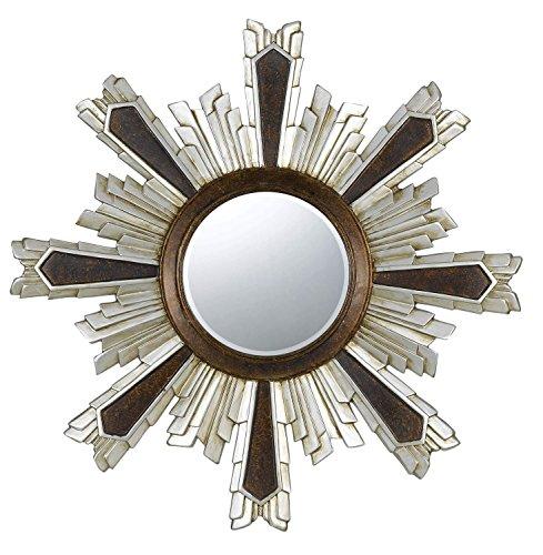 Cal Lighting WA-2168MIR Chafe Polyurethane Beveled Mirror, Round, Walnut/Silver