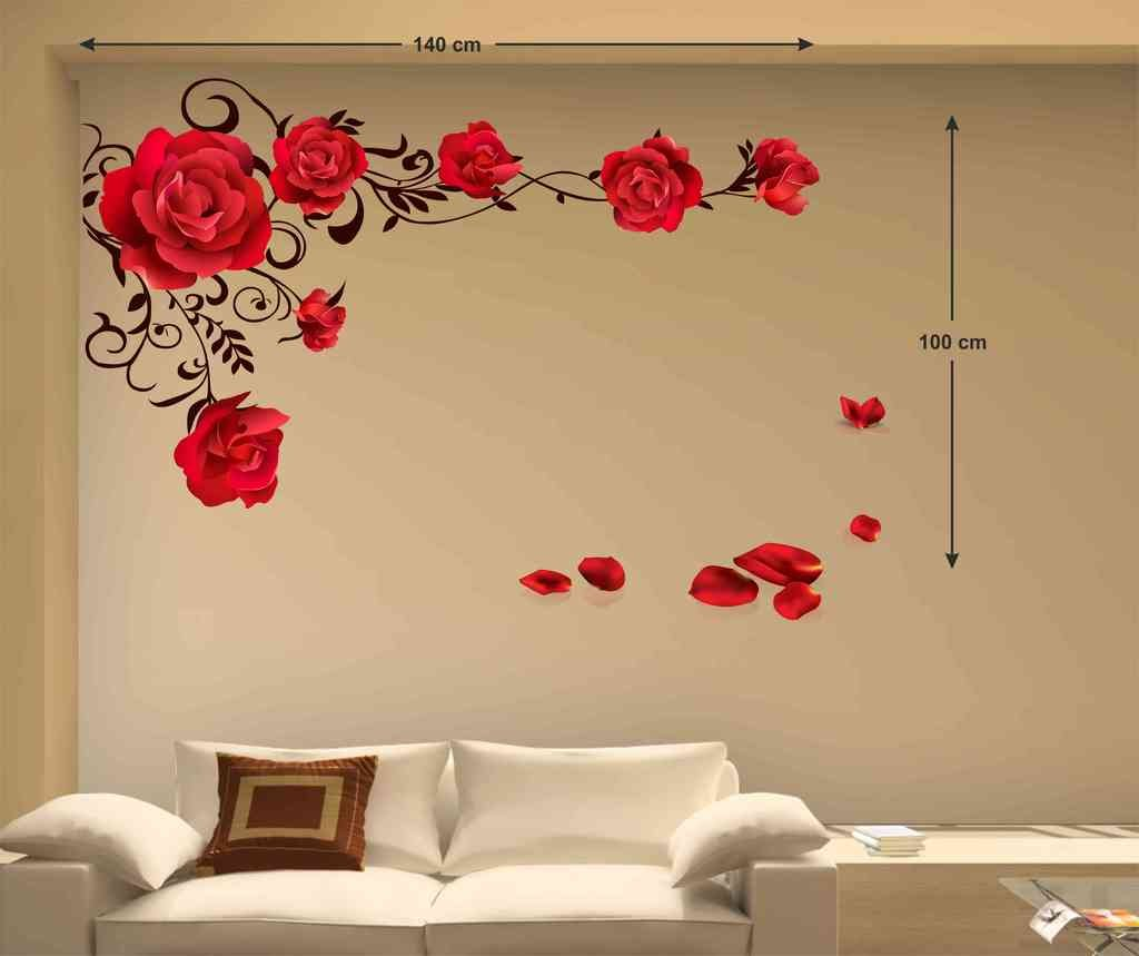 Buy Decals Design \'Rose Flowers with Vine Blowing on My Wall\' Wall ...
