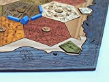 Settlers of Catan Compatible - Custom Wooden Game Board with Ocean Blue Edges - 1-4 Player Board