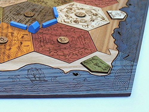 Settlers of Catan Compatible - Custom Wooden Game Board with Ocean Blue Edges - 1-4 Player Board by Thinking Monk