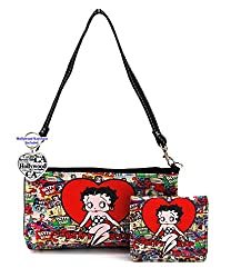 Betty Boop Small Bag and Wallet Set, Plus Key Chain (Big Heart)