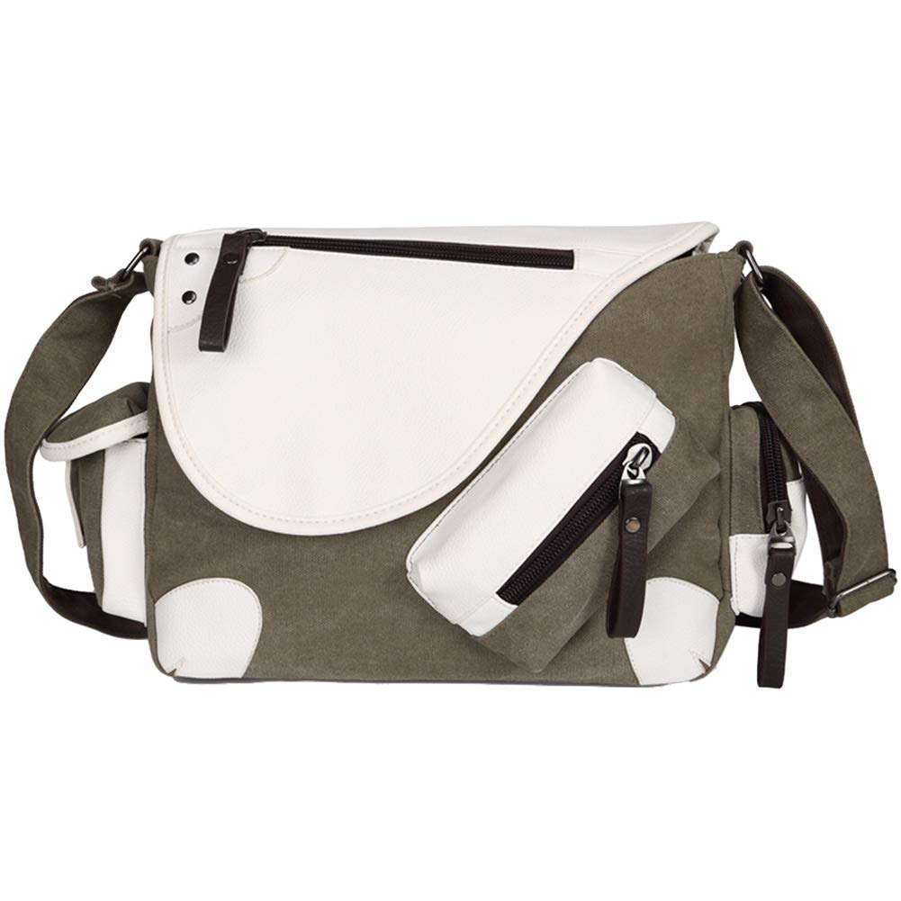 Messenger Bag for Men Classic Multi-Pocket Vintage Canvas Crossbody Shoulder Bag for All-Purpose Use,Can be Fit 13inch Laptop,Kindle,Ipad,Switch.