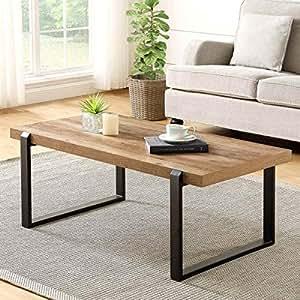 Amazon.com: FOLUBAN Rustic Coffee Table,Wood and Metal ...