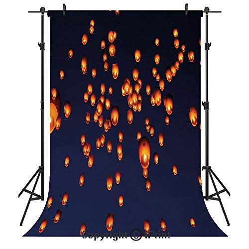 Lantern Photography Backdrops,PingXi District Festival at Night Taipei Taiwan Good Vibes Hope for Future,Birthday Party Seamless Photo Studio Booth Background Banner 10x20ft,Night Blue Orange