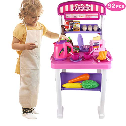 Kids Kitchen Pretend Playset Cooking Kit Toy Food Accessory Creative Role Play Chief Game Appliances with Sound Light Sink Faucet Utensils for Kids Boys Girls Age 3+