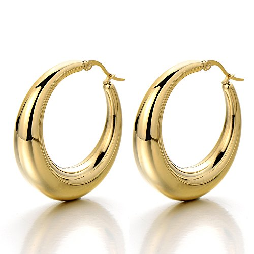 Gold Hollow Hoops (Pair Stainless Steel Hollow Circle Huggie Hinged Hoop Earrings for Women Girls Gold Color)