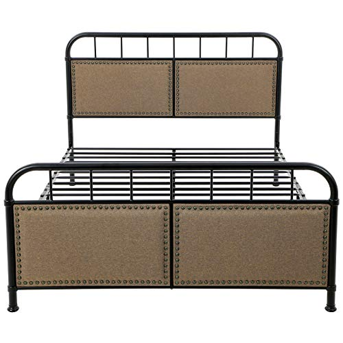 VASAGLE URMB024BE Metal Frame with Vintage Headboard Footboard, Upholstered Linen with Studs, No Box Spring Needed Platform, Under-Bed Storage, Industrial Style, Noise Free, Queen, Brown and Black (Bed Queen Frame Industrial)