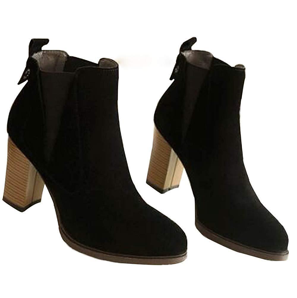 Frauen Frühling Herbst Winter High Heels Matt Stiefeletten Warme Schuhe (Farbe   4, Größe   37EU)    Sehr gelobt und vom Publikum der Verbraucher geschätzt    Shop