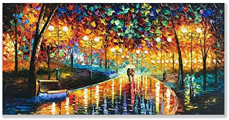 Alenoss Art, 24×48 inch Modern Abstract Canvas Oil Paintings Wall Art Rain Night Street View Hand Painted Acrylic Frame Wall Art Painting Living Room Bedroom Office Decor Ready to Hang