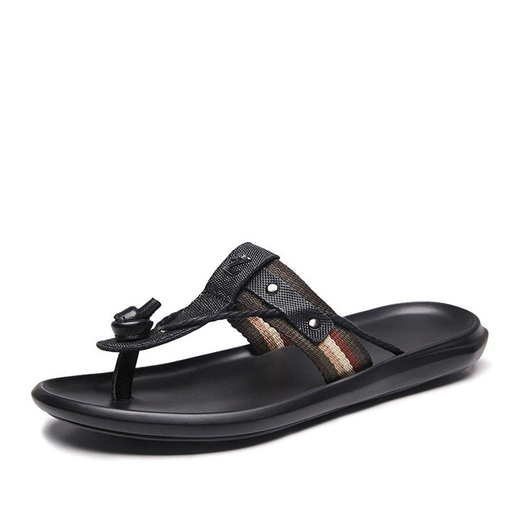 ISEYMI Männer Thong Slipper Slide Sandalen aus echtem Leder & Stoff oberen Metall verzierten Dekor