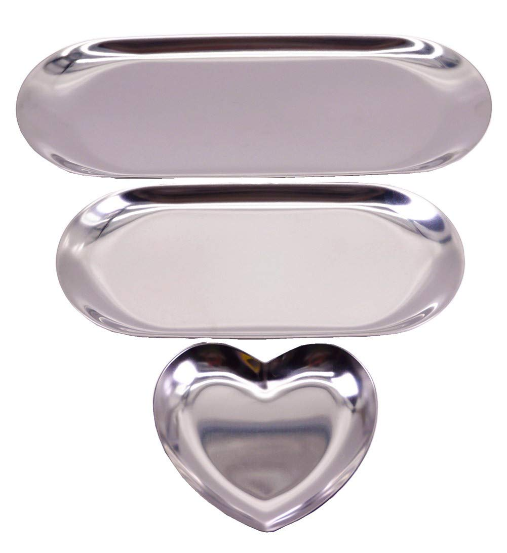 BJ Decor 3Pcs Jewelry Tray Silver Tray Vanity Tray Jewelry Organizer Trays Candle Tray Cosmetic Tray Decorative Jewelry Dish for Vanity Living Room Bathroom Bedroom Silver