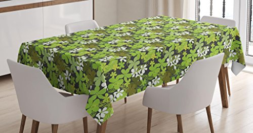 Ambesonne Sage Tablecloth, Fresh Nature Theme Wildflowers Leaves Bloom Foliage Nostalgia Vintage Abstract, Dining Room Kitchen Rectangular Table Cover, 52 W X 70 L inches, Green Black White