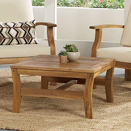 (Teal Island Designs Milos Wood Outdoor Coffee Table )
