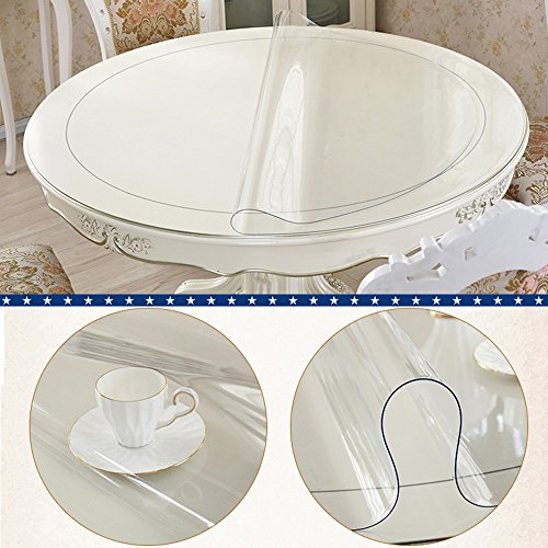 Clear Round Table Protector Round Furniture Protector Circle Clear Plastic Round Tablecloth Vinyl Waterproof Wipeable PVC for Round Dining Table Top Cover Desk Mat Pad 72'' 72 Inch 183 CM Diameter by BigHala (Image #1)