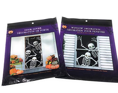 Halloween Hilarious Scary Skeletons Window and Door Mural Decoration -