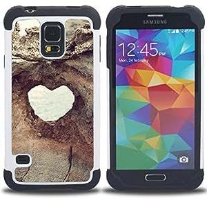 """SAMSUNG Galaxy S5 V / i9600 / SM-G900 - 3 en 1 impreso colorido de Altas Prestaciones PC Funda chaqueta Negro cubierta gel silicona suave (Estructura del corazón Vista Acantilado Agujero"""")"""