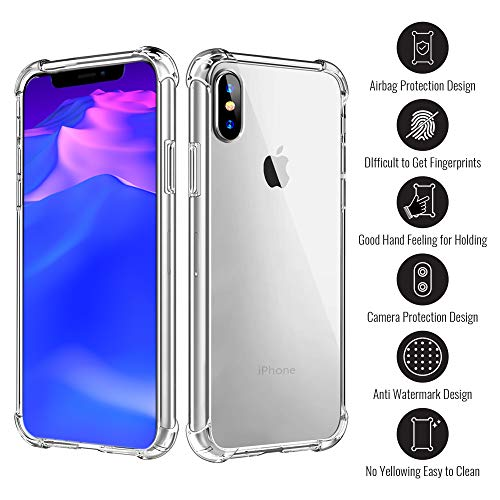 Crowntech iPhone X and iPhone Xs Clear Case + Screen Protector Slim Anti-Scratch Shock Absorption soft TPU Cover with Reinforced Corner