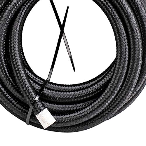 AN6-6AN 20FT Nylon Stainless Steel Braided Fuel Hose 20 feet+AN6 Push Lock Hose End 10pcs by Tuningsworld (Image #3)