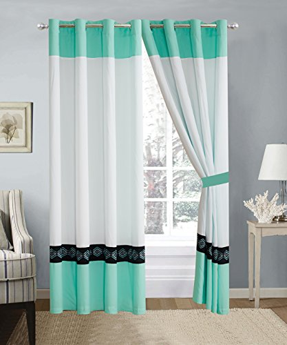 4 Piece Turquoise Blue/White / Black Double-Needle Stitch Pinch Pleat Grommet Window Curtain Set 108 x 84-inch, 2 Panels and 2 Ties