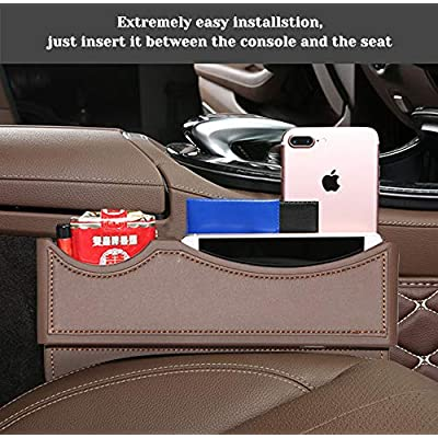 BALMOST Seat Gap Filler, Console Organizer, Car Pocket, Seat Catcher, Seat Crevice Storage Box for Cellphone Coin (Red Brown): Automotive