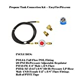 PTCK: Propane Tank Fire Pit Connection Kit; Hi-Out Regulator, 12′ of hose & Necessary Fittings; Lifetime Burners all 316 Stainless (not Lessor 304). See EasyFirePits.com Gallery! Review