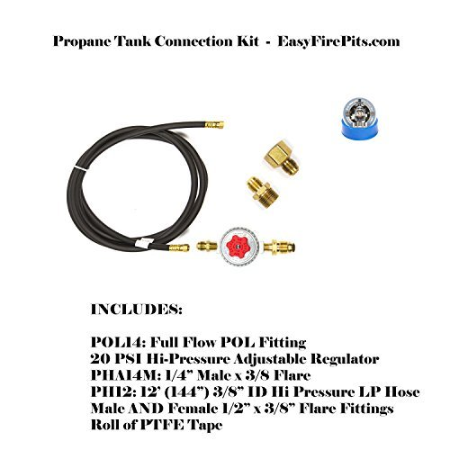 - PTCK: Propane Tank Fire Pit Connection Kit; Hi-Out Regulator, 12' of hose & Necessary Fittings; Lifetime Burners all 316 Stainless (not Lessor 304). See EasyFirePits.com Gallery!
