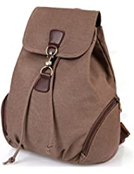 TIBES Small College Canvas Backpack for Women Girls Drawstring Daypack