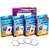 Star Right Flash Cards Set of 4 - Numbers, Alphabets, First Words, Colors & Shapes - Value Pack Flash Cards with Rings for Pre K-K