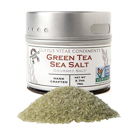 Green Tea Sea Salt, Non-GMO Certified, Small Batch, 2.7oz, Gourmet (Japanese Sea Salt)