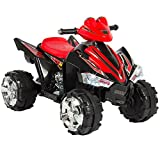 Kalco TOYS UK NEW CHILDRENS ELECTRIC 12V RIDE ON QUAD BIKE BATTERY POWERED QUADBIKE (BLACK / RED)