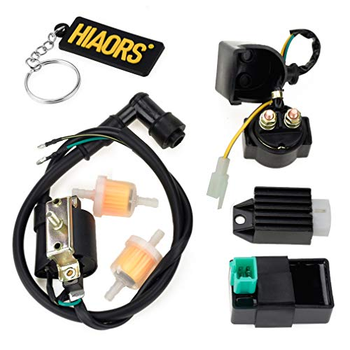 HIAORS Ignition Coil 5 Pin CDI Regulator Rectifier Relay Fuel Filter For Kazuma Meerkat 50cc Falcon 90cc 110cc Taotao Roketa Coolster 110CC ATV 3050B X15 X18 R Nitro X19 SSR 110cc Pocket Bike