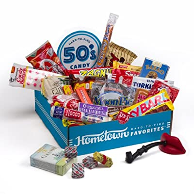 Hometown Favorites 1950's Nostalgic Candy Gift Box, Retro 50's Candy