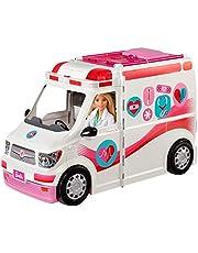 Barbie FRM19 – 2-i-1 sjukvagn, uppfällbart fordon med ljus och buller, dockor lekset med tillbehör, flickor leksak från 3 år