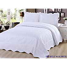 Quilt King Size 3 pc Bedding Bed set / Bedspread Coverlet / Embroidered / 2 pillow sham (White)