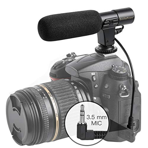 (Camera Video Microphone SmilePowo Photography Interview Stereo MIC Microphone (3.5mm Interface) for Sony Canon Nikon Panasonic Olympus DSLR Camera and DV Camcorder (NOT for Canon T5i T6 Sony A6000))