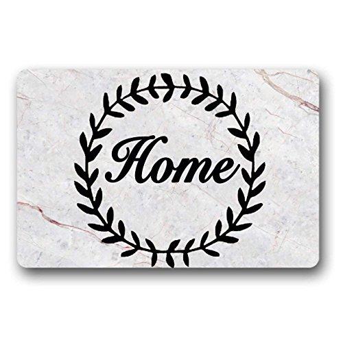 JXSED Home Sweet Home Marble Patten Door Mat Indoor/Outdoor Rubber Non Slip Doormat for Patio Front Door 16x24 -