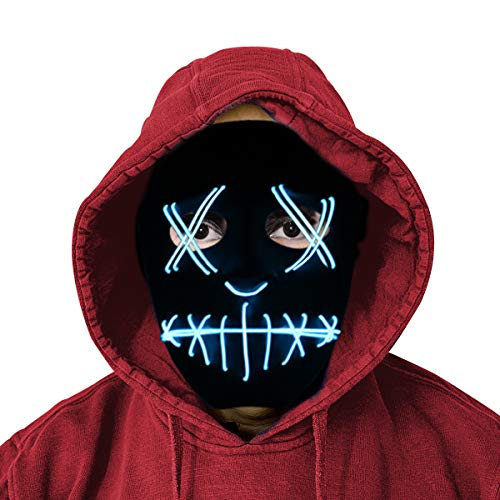 Cheap Easy Scary Halloween Costumes (StarQualityBargain Scary Light Up Cosplay Costume Mask for Kids - Black)